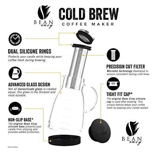 Bean Envy Cold Brew Coffee Maker - 32 oz - Premium Quality Glass - Perfect For Homemade Cold Brew and Iced Coffee - Includes Unique Non-Slip Silicone Base