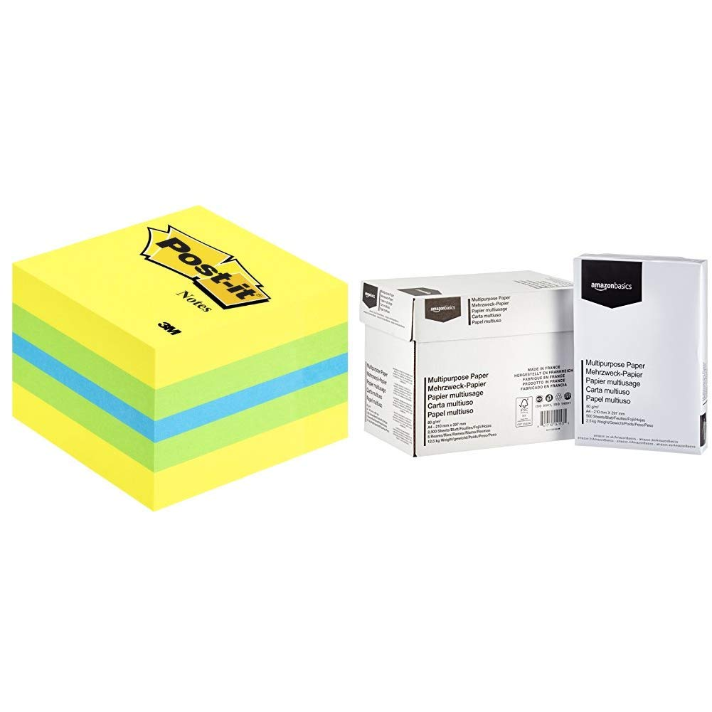 bianco 5x500 fogli 3M Post-it Mini Cubo 51mmx51mm /& Basics Carta da stampa multiuso A4 80gsm