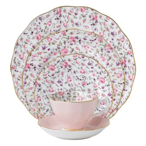 - Royal Albert 8704025822 New Country Roses Rose Confetti Vintage Formal Place Setting, 5-Piece