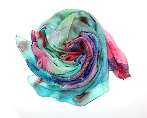 "Bear Motion Collection - Womens 100% Silk Scarf - 43"" X 70"" Large Pure Slik Luxury Scarf (Large 43"" X 70"", Color Code 87)"
