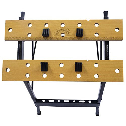 Picotech Portable Work Bench 350-Pound Capacity Portable Steel Frame Wood Vise Jaws Durable Sturdy Compact Lightweight Adjustable Swivel Pegs No Warping No Swelling Dual Clamp Cranks Non-skid Feet by Picotech (Image #1)