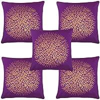 Freely Multi Color Gold Print Flower Velvet Cushion Cover (16*16 Inches) - Pack of 5
