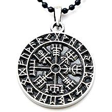 Guidepost Compass Talisman Viking Protection Vegvisir Elder Futhark Pendant W Black Ball Chain