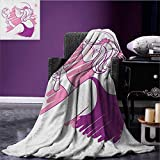 Zodiac Gemini throw blanket Young Teenage Girl on Pink Looking at Herself in the Mirror miracle blanket Purple Pale Pink and White size:60''x80''