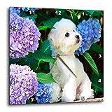 Cheap 3dRose dpp_80886_3 Adorable Bichon Frise Puppy Among Hydrangeas Wall Clock, 15 by 15-Inch