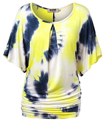 DJT-Top Camiseta para Mujer con Mangas Anchas de Murcielago Amarillo Estampado