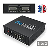 HDMI Splitter 1 In 2 Out, Gana 1X2 HDMI Splitter Switch with 1 Input to 2 Outputs Support 3D Full HD 1080P HDTV