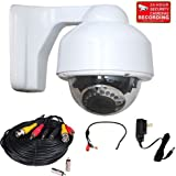 VideoSecu IR Infrared Dome Security Camera Outdoor Day Night 4-9mm Varifocal Lens for CCTV Home Surveillance DVR System with Power Cable and Power Supply CNM