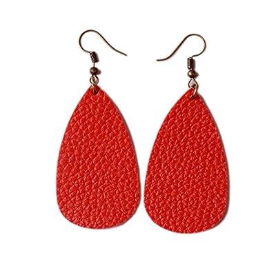 L&N Rainbery Teardrop Leather Earrings Antique Looking Various Colors 2 Pairs Pack
