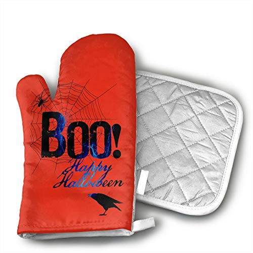 Boo Happy Halloween Free Printable Oven Mitts and Pot Holders Set with Polyester Cotton Non-Slip Grip, Heat Resistant, Oven Gloves for BBQ Cooking Baking, Grilling