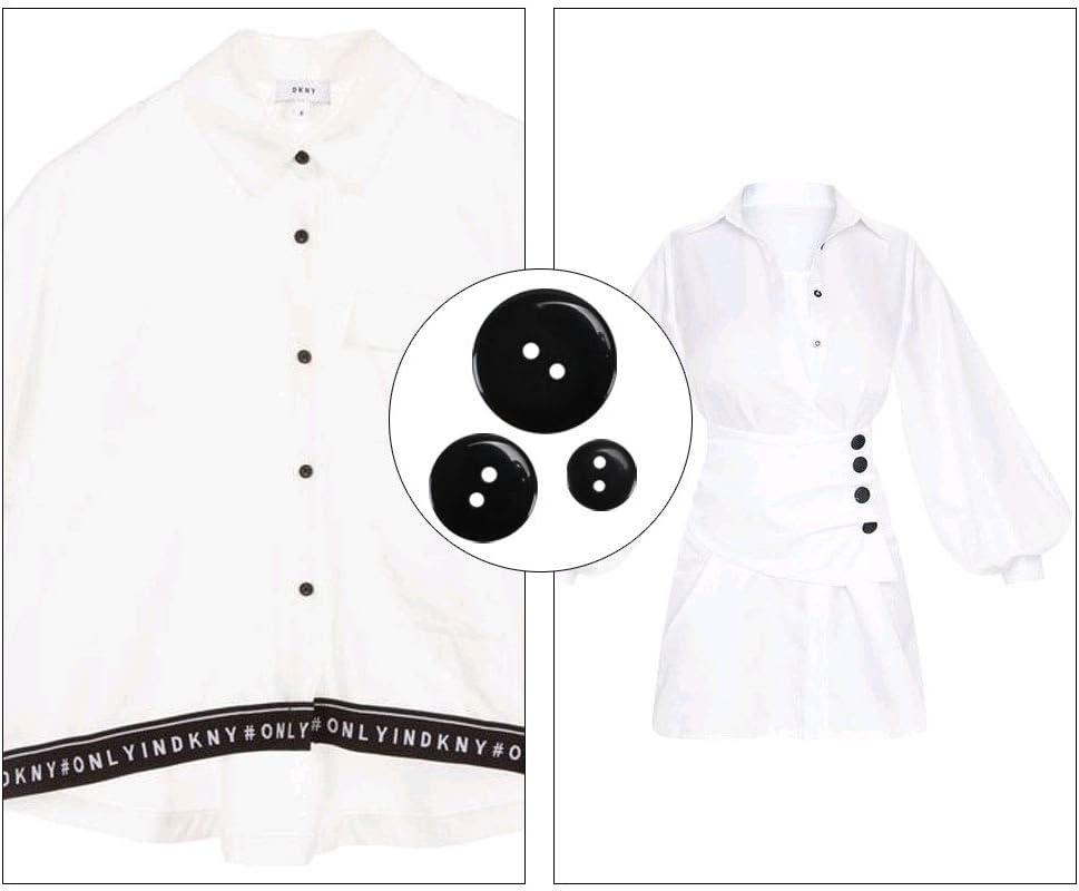 FOGAWA 200Pcs Boutons Noir Grand Petit Boutons pour Couture R/ésine Boutons pour Couture V/êtements Pantalons Manteau DIY 10mm//15mm//20mm