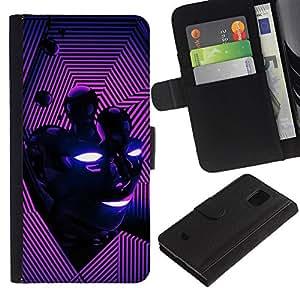 Billetera de Cuero Caso Titular de la tarjeta Carcasa Funda para Samsung Galaxy S5 Mini, SM-G800, NOT S5 REGULAR! / Abstract Purple Pink Face / STRONG