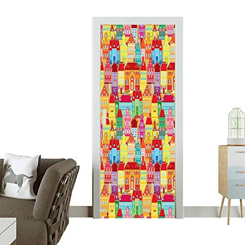 Door Sticker Architecture Hous Pillars and Removable Door Decal for Home DecorW38.5 x H77 INCH
