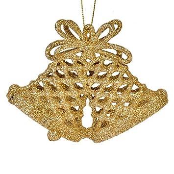 Tradebox 3 St 11 Cm Gold Glitter Weihnachtsglocken Weihnachtskugeln