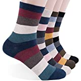 Men's Dress Casual Crew Socks - Colorful Striped Patterned Design with Cotton Blended. Size 7 to 11 4 Pairs In 1 Pack. (Metro)
