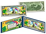 LEPRECHAUN Four Leaf Clover U.S. $2 LUCKY BILL with Display - St Patrick's Day