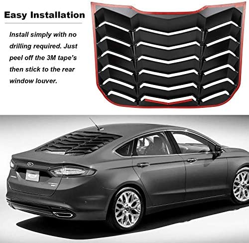 Genetics Winiory for Ford Fusion Mondeo 2013-2018 Car Rear Window Louver Air Vent Scoop Shades Cover Trim 2PCS//Set Glossy Black