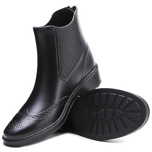 Botas de Lluvia para Mujer de BaronHong Botas de Plataforma Botines con Tobillo Elastic Bullock Short Rainy Shoes: Amazon.es: Zapatos y complementos