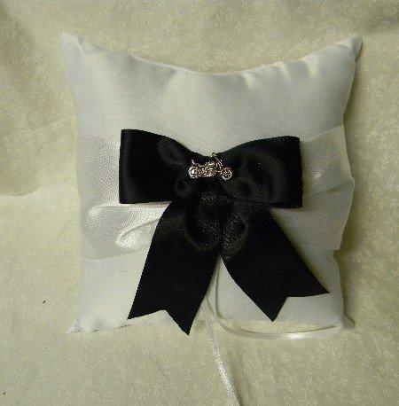 Wedding Party Ring bearer Pillow Motorcycle Biker Hog Chick Black Bow