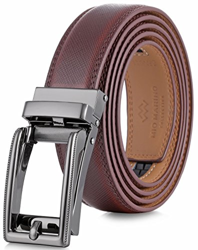 Marino Men's Genuine Leather Ratchet Dress Belt with Open Linxx Buckle, Enclosed in an Elegant Gift Box - Mahagony - Style 70 - Custom: Up to 44