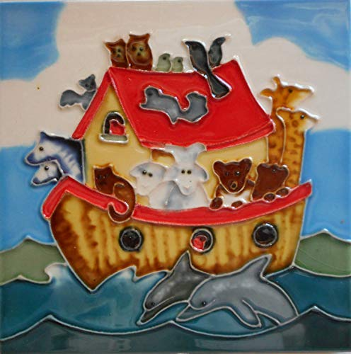 Noahs ark Ceramic Art Tile 6 x 6 inches with Easel -