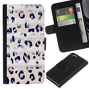 KLONGSHOP // Tirón de la caja Cartera de cuero con ranuras para tarjetas - Patrón Leopard Rosa Blanco Negro - Apple Iphone 6 //