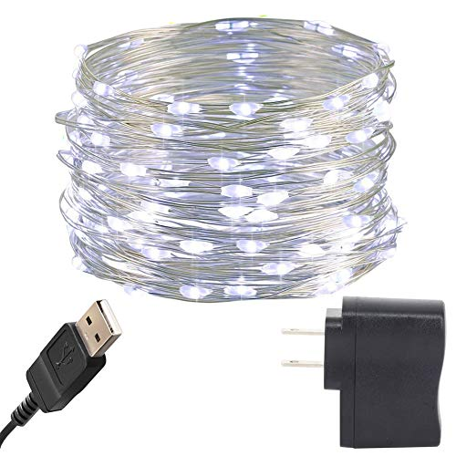 HAHOME 33Ft 100 LEDs USB Starry String Lights with Power Adapter for Wedding Christmas Party Decoration,Cool White