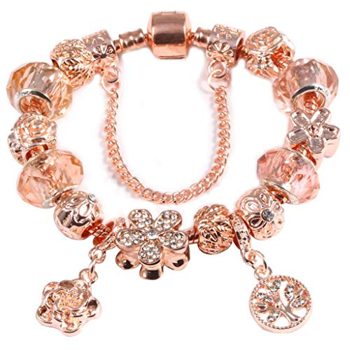 (Gift for Girlfriend Flower Dangle Brand Bracelets Along with Stones Rose Gold Very Charm Bracelets; Bangles Crystal Jewelry Gift For ladies Decoration)