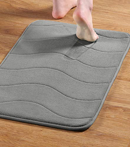 Mat Foot Warmer (Memory Foam Coral Fleece Non Slip Bathroom Mat, Thick Durable Bath Rugs 17W X 24L inches (Gray Waved Pattern))