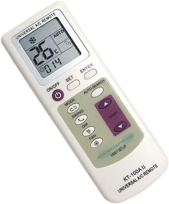 JeVx Mando Universal para Aire Acondicionado y Bomba de Calor 5000 en 1 Pantalla Grande Retroiluminada Linterna Controlador de Temperatura a Distancia Splitter Climatizador Control Remoto Temporizador