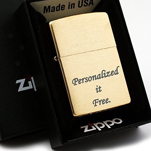 Free Engraving - Personalized Groomsman Zippo Lighter Windproof Perfect for Boyfriend, Anniversary - Three Lines, Each 20 Characters, Free Customization (Solid Brass 204) (Solid Brass Zippo Lighter)
