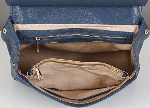 BELUCIA ARONA Sac porté main,Sac à main,véritable cuir de veau de grain, Couleur Jeans Bleu, Retours gratuits de France