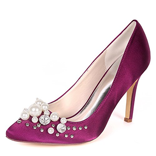 Strass Flower Mariage Nuptiale Satin Femmes UK3 EU36 0608 D'orsay Closed Toe Ager 01F Purple Chaussures ZwrZBz8q