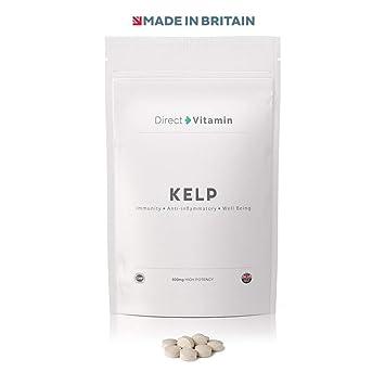 Premium Sea Kelp 500mg Iodine 300ug (365 Tablets) | Thyroid Detox Hair Skin  Nails | Made in UK | Direct Vitamin