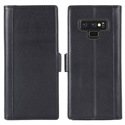 Galaxy Note 9 Leather Wallet Case - Purfit Design Genuine Leather Flip Kickstand Wallet Case Cover for Samsung Galaxy Note 9-(Handmade)(Built-in Stand)(Magnetic Closure)(Cards Slot) (Black)