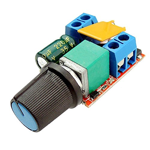 SODIAL(R) Mini DC Motor PWM Speed Controller 3V 6V 12V 24V 35VDC 90W 5a DC Motor Speed Control Switch LED Dimmer (12 Speed Control)