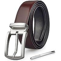 Mens Belt Reversible Leather Dress Belts Casual Jean Belt Removable Buckle Black Brown