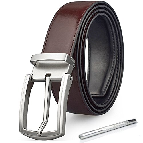 Mens Genuine Leather Belt Reversible Work Casual Jean Dress Removable Buckle Belts Brown ()
