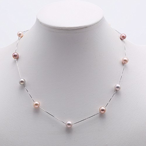 JYX Sterling Silver 8mm Colorful Freshwater Cultured Pearl Necklace 18'' by JYX Pearl (Image #4)
