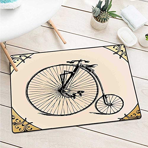(Wang Hai Chuan Bicycle Front Door mat Carpet Retro Big and Small Tired Bicycle on A Vintage Round Framed Floral Background Boho Door mat is odorless and Durable W19.7 x L31.5 Inch Tan Cream )