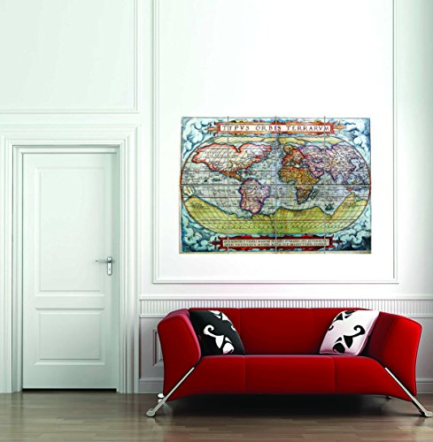 Map Antique World Globe Continent Ocean New Giant Wall Art Print Poster