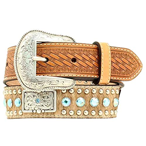 Nocona Boy's Calf Hair Rhinestones Belt, Brown, 26 (Nocona Crystal Concho Belt)