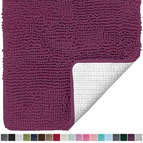 Gorilla Grip Original Luxury Chenille Bathroom Rug Mat (30 x 20), Extra Soft and Absorbent Shaggy Rugs, Machine Wash/Dry, Perfect Plush Carpet Mats for Tub, Shower, and Bath Room (Eggplant) ()