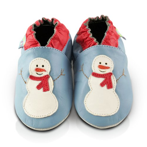Snuggle Feet - Chaussons Bébé en Cuir Doux - Bonhomme De Neige (12-18 mois)