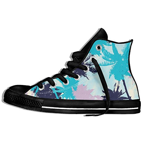 Classic High Top Sneakers Canvas Shoes Anti-Skid Colorful Leaves Casual Walking For Men Women Black mgshM