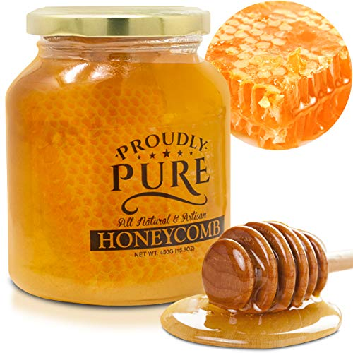 Proudly Pure All Natural Premium Real Raw Honeycomb Organic Unfiltered Super Food Extracted In A Traditional Way From 100% Pure Bee Square Boxes, Unsweetened, Packed Freshly In Jar
