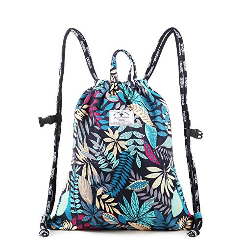 Drawstring Backpack Original Floral Leaf Tote Bags Sackpack for Shopping Yoga Gym Hiking Swimming Travel Beach 2 Sizes&20 Patterns ()