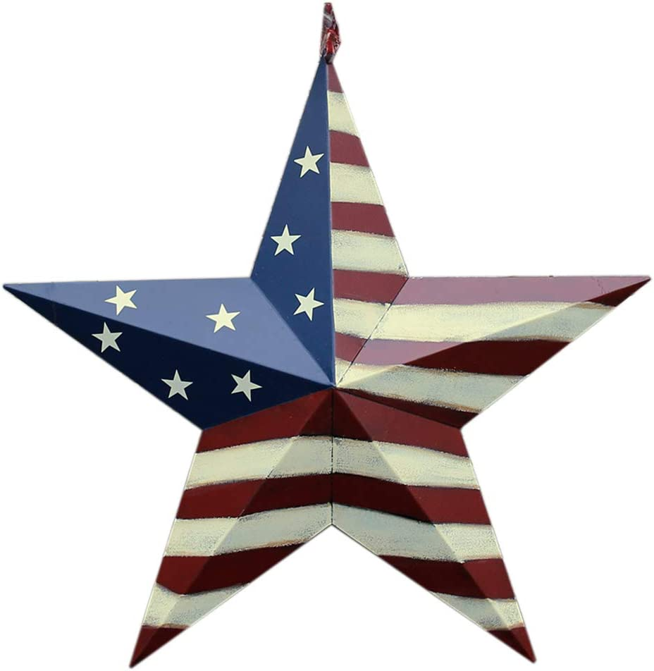 Patriotic Metal Barn Star Hanging Wall Decor 3D Dimensional Star Barn Outdoor Indoor 4th of July Decoration