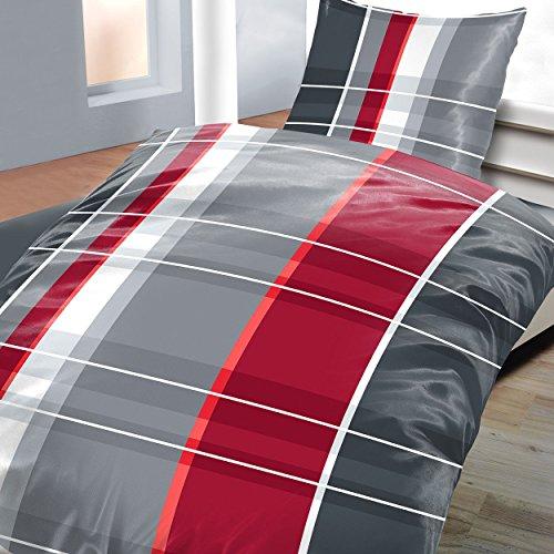 4tlg Warme Winter Bettwäsche Baumwolle Biber 2x 135x200 + 2x 80 x80 NEU Karo Streifen Rot Grau