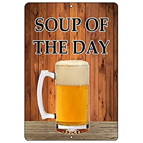 Rogue River Tactical Funny Beer Alcohol Sign Metal Tin Sign Home Bar Kitchen Soup of The Day